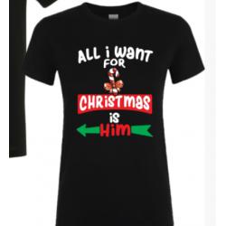 "Tricou ""All I Want For Christmas"", M , negru"