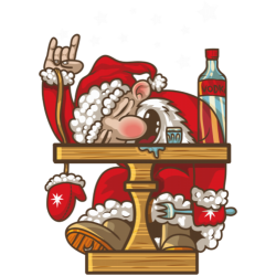 Santa drinks vodka