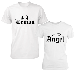 "Set tricouri cupluri ""Angel and demon"""