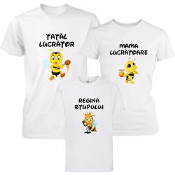 """Set 3 tricouri familie """"Albinute - regina stupului"""""""