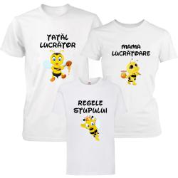 """Set 3 tricouri familie """"Albinute - regele stupului"""""""