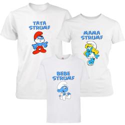 "Set 3 tricouri familie ""Strumfii - baietel"""