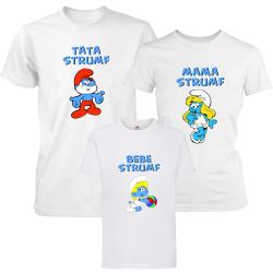 "Set 3 tricouri familie ""Strumfii - fetita"""