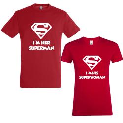 """Set tricouri cupluri """"Super couple"""""""