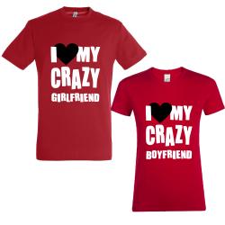 "Set tricouri cupluri ""I love my crazy"""