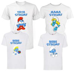 "Set 4 tricouri familie ""Strumfii"""