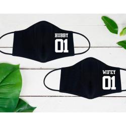 """Set de masti personalizate pentru cupluri """"Hubby and Wifey"""""""