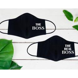 """Set de masti personalizate pentru cupluri """"The real boss"""""""