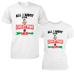 "Set tricouri cupluri ""All I Want For Christmas"""