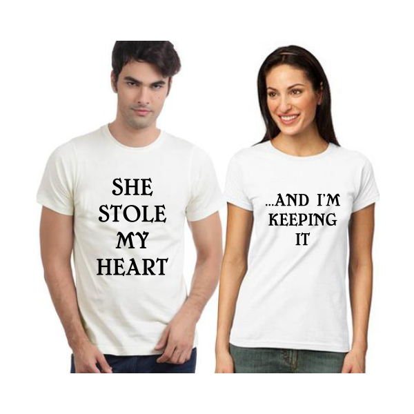 "Set tricouri cupluri ""She Stole My Heart…And I'm Keeping It"""