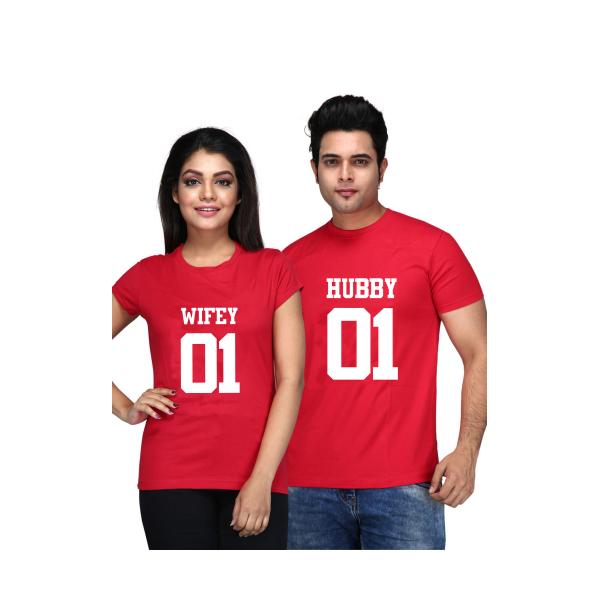 """Set tricouri cupluri """"Hubby Wifey"""""""