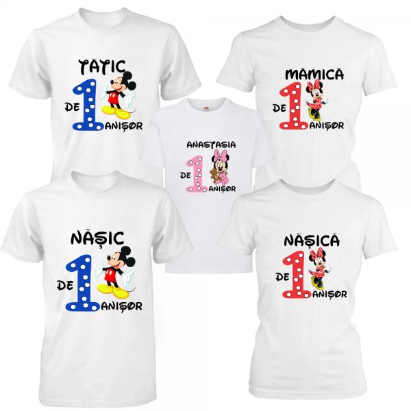 Set 5 tricouri aniversare pentru parinti, nasi si fetita