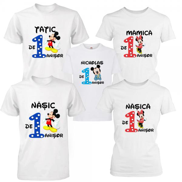 Set 5 tricouri aniversare pentru parinti, nasi si baietel