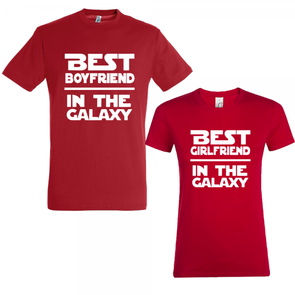 "Set tricouri cupluri ""Best boyfriend and girlfriend in the galaxy"""