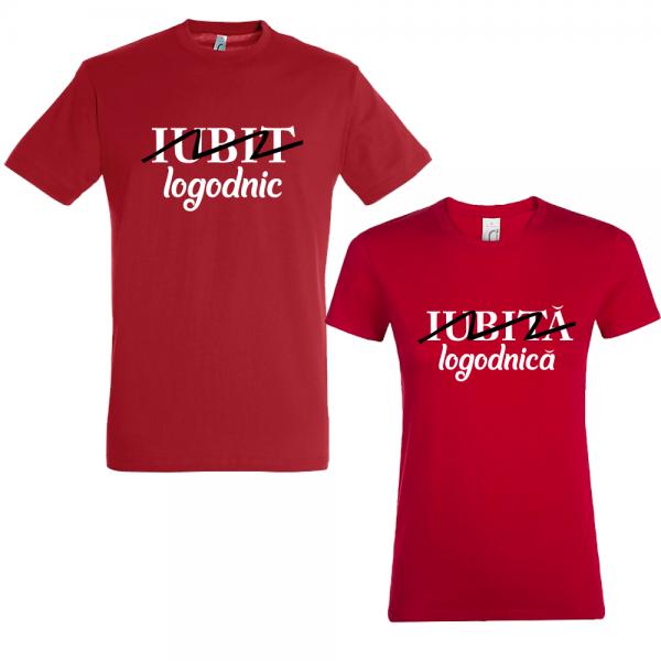 """Set tricouri cupluri """"Logodnic/logodnica"""""""