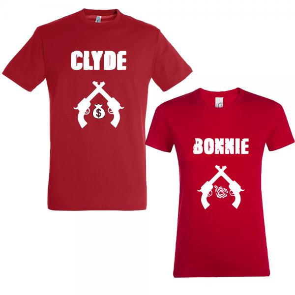 "Set tricouri cupluri ""Bonnie and Clyde"""