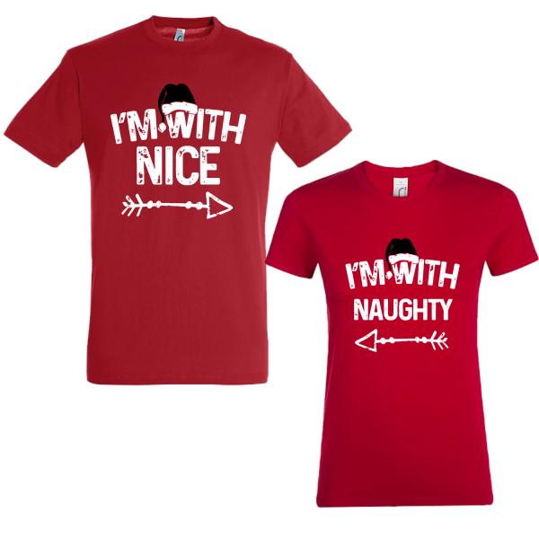 """Set tricouri cupluri """"Naughty and Nice"""""""